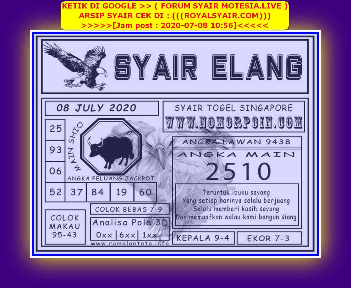 Kode syair Singapore Rabu 8 Juli 2020 164