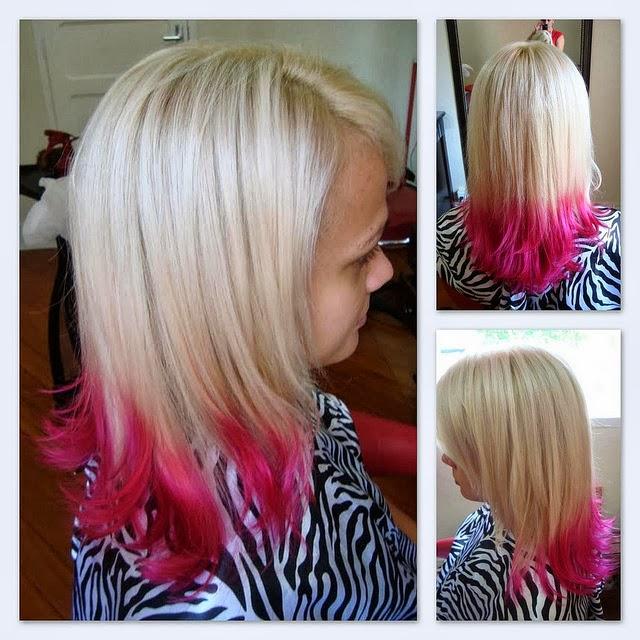 Mechas californianas rosas en pelo corto