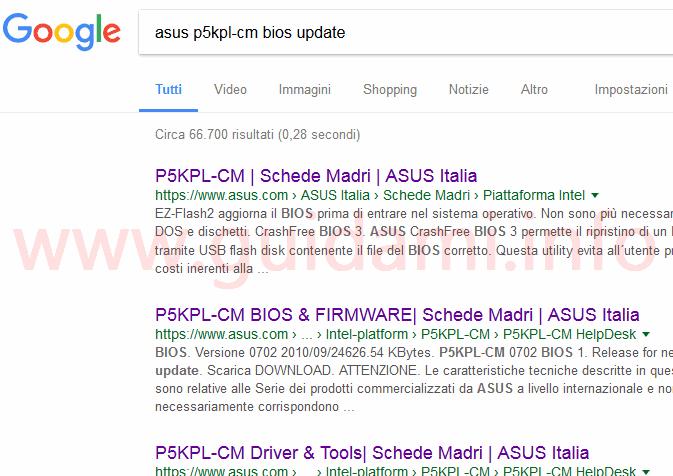 Risultati ricerca Google aggiornamenti versione BIOS computer