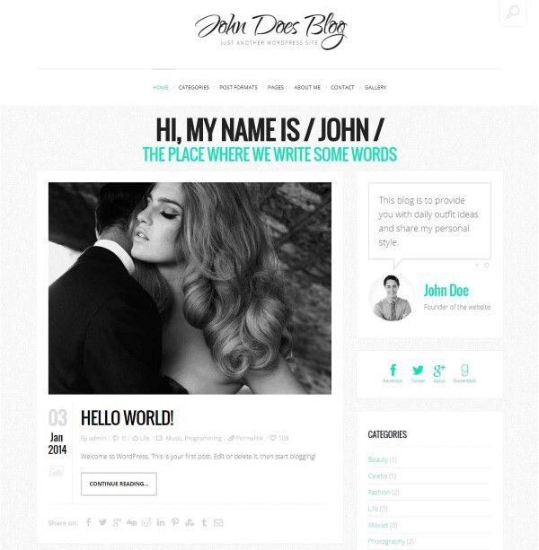 John Doe's blog wordpress theme