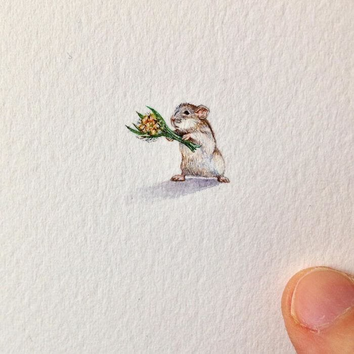 02-A-Mouse-in-Love-Brooke-Rothshank-Miniature-Paintings-www-designstack-co