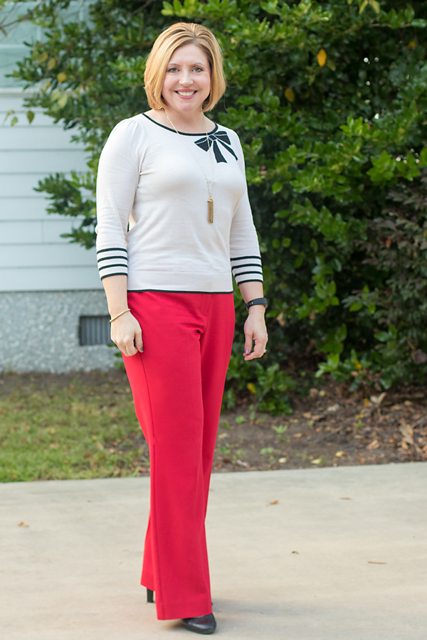 red trousers with sweater
