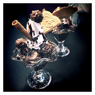 Ferrero Roche Sundae and Choc Fudge Hot-N-Cold Volcano, sundae, sundaes, ice cream, treat, sugar, Creams, Creams Cafe