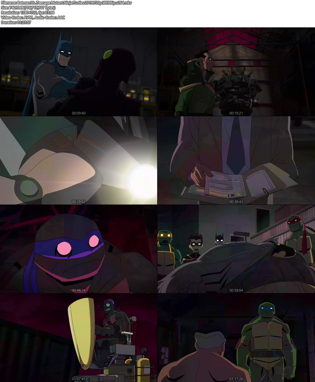 Batman Vs Teenage Mutant Ninja Turtles 2019 720p WEBRip x264 | 480p 300MB | 100MB HEVC Screenshot