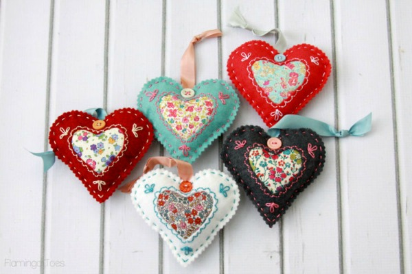 DIY Fabric Heart Valentines from Flamingo Toes