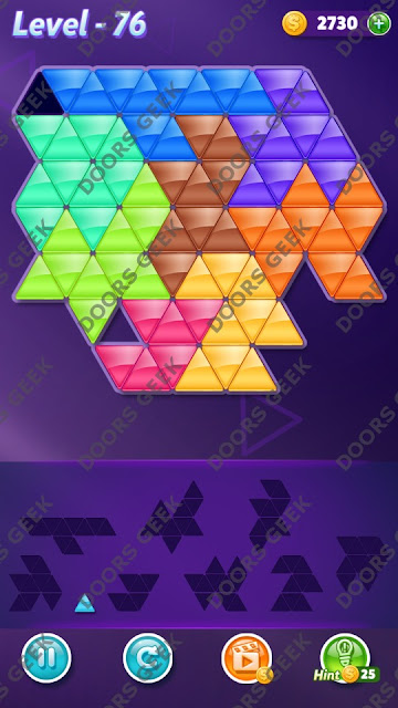 Block! Triangle Puzzle 9 Mania Level 76 Solution, Cheats, Walkthrough for Android, iPhone, iPad and iPod