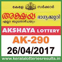 Keralalotteries, kerala lottery, keralalotteryresult, kerala lottery result, kerala lottery result live, kerala lottery results, kerala lottery today, kerala lottery result today, kerala lottery results today, , kerala lottery result 26 4 2017 akshaya lottery ak 290