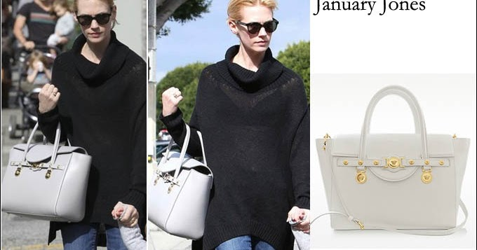 958557482b WHAT SHE WORE  January Jones with large white leather tote with gold  buckles in Los Angeles ~ I want her style - What celebrities wore and where  to buy it.