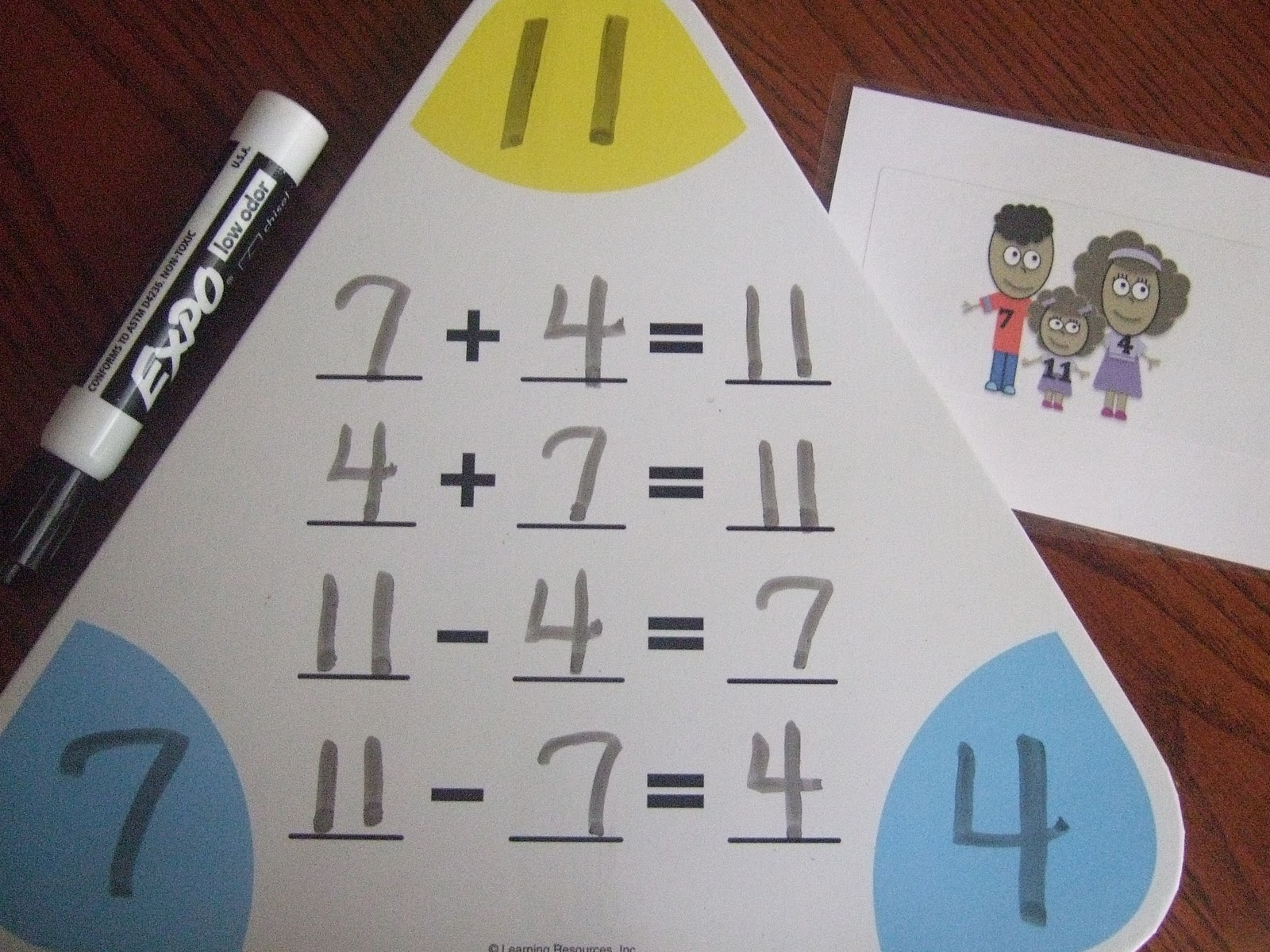 First Grade School Box Fact Family Cards