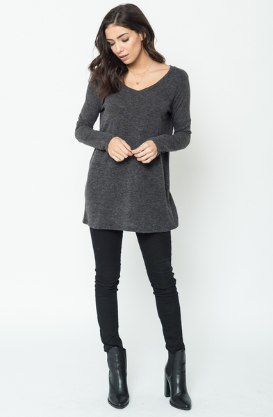 Buy Now Charcoal Back Ribbon Sweater Tunic (Final Sale) Online $24 -@caralase.com