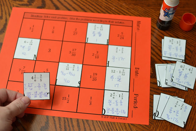 Operations on Fractions Math Freebies