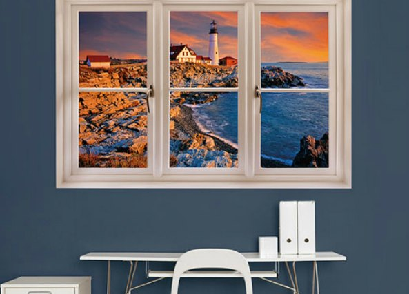 Ventanas falsas para decorar cualquier pared interior - Como empapelar una pared ...