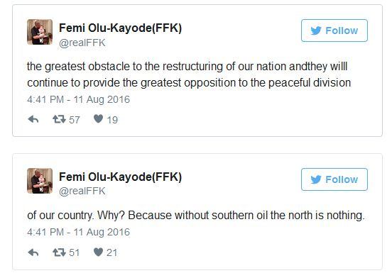 'Without Southern Crude Oil, The North Is Nothing' – Fani-Kayode Drops Bombshell [TWEETS]
