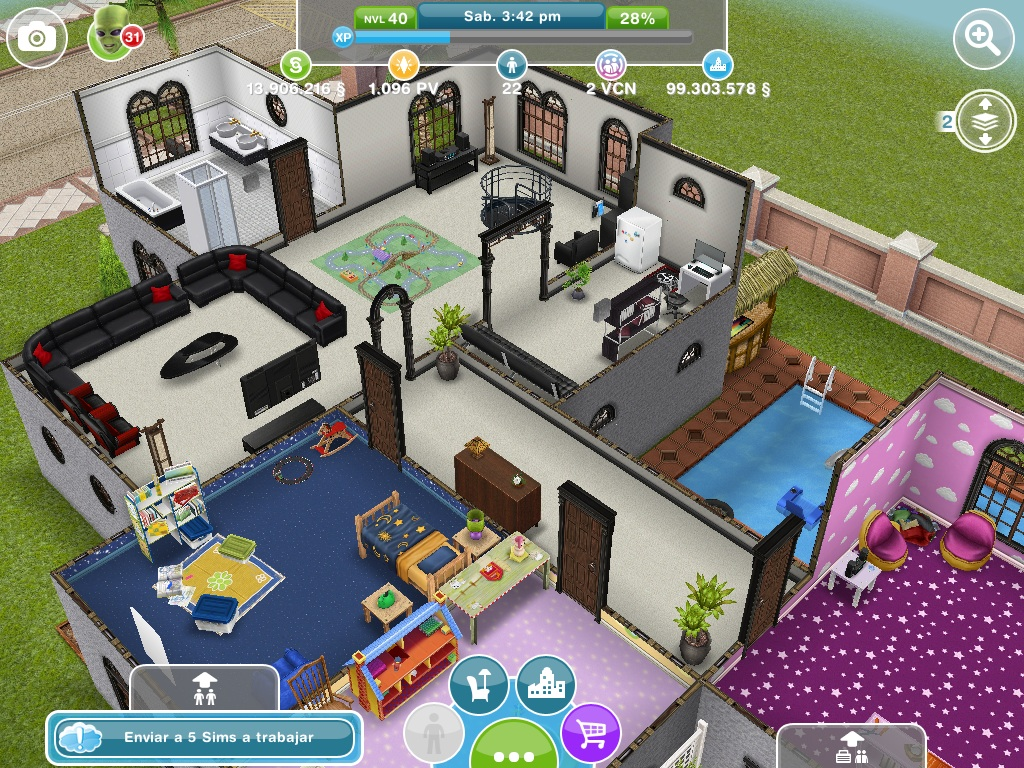 Fotos de la mansi n de dos plantas for Casa de diseno the sims freeplay