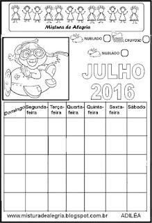 Calendário julho/16 para completar e colorir