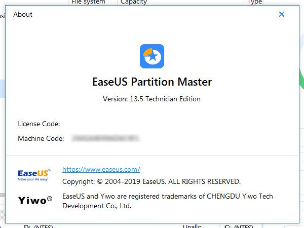 EASEUS Partition Master 13.5 Crack License Code