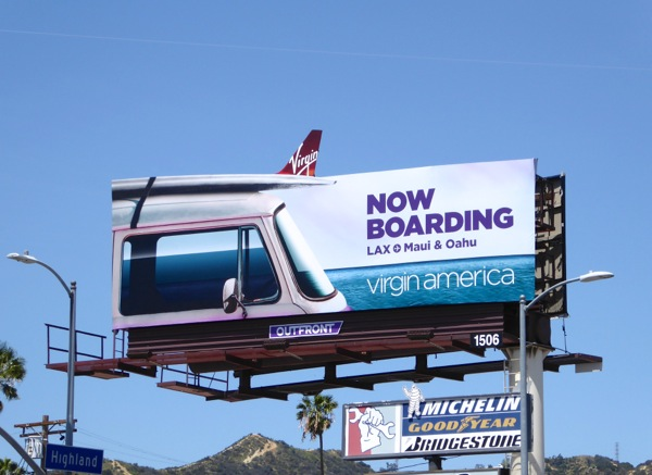 Virgin America Now boarding extension billboard