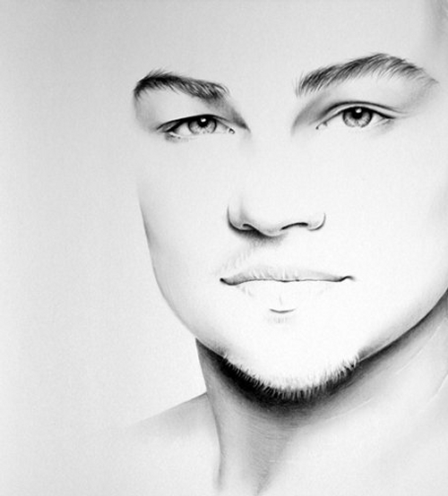 13-Leonardo-Di-Caprio-Ileana-Hunter-Celebrity-Black-and-White-Stylish-Drawing-Portraits-www-designstack-co