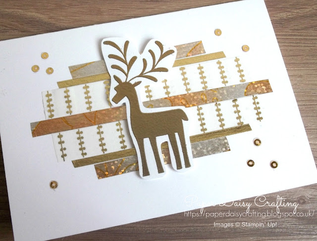 Stampin' Up Merry Mistletoe reindeer card with washi tape background