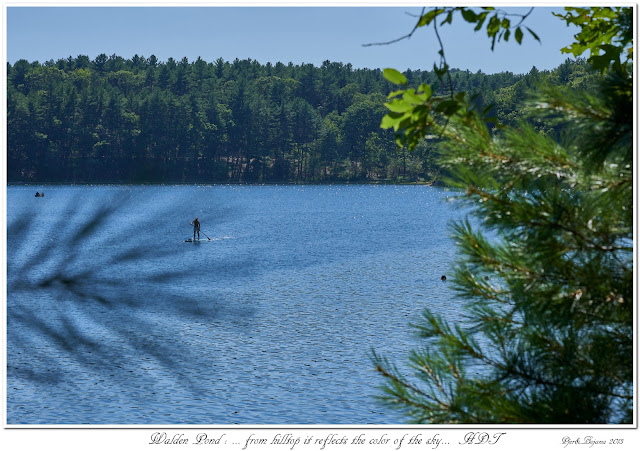 Walden Pond: ... from hilltop it reflects the color of the sky... HDT