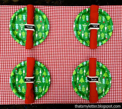 kids christmas table napkin ring placecards