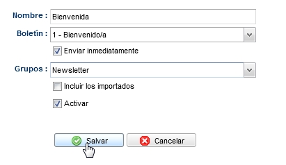 opciones del autoresponder mailrelay