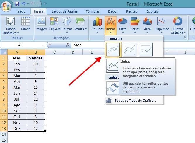Excel - Selecionar Tipo de Gráfico 2