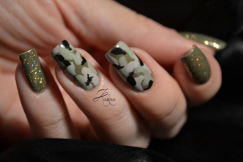 Army Nail Art Deco Ongles Kaki