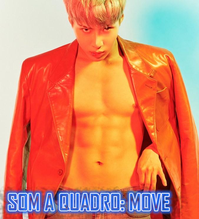 Taemin em tons laranja olha sem camisa diretamente para frente de forma sensual