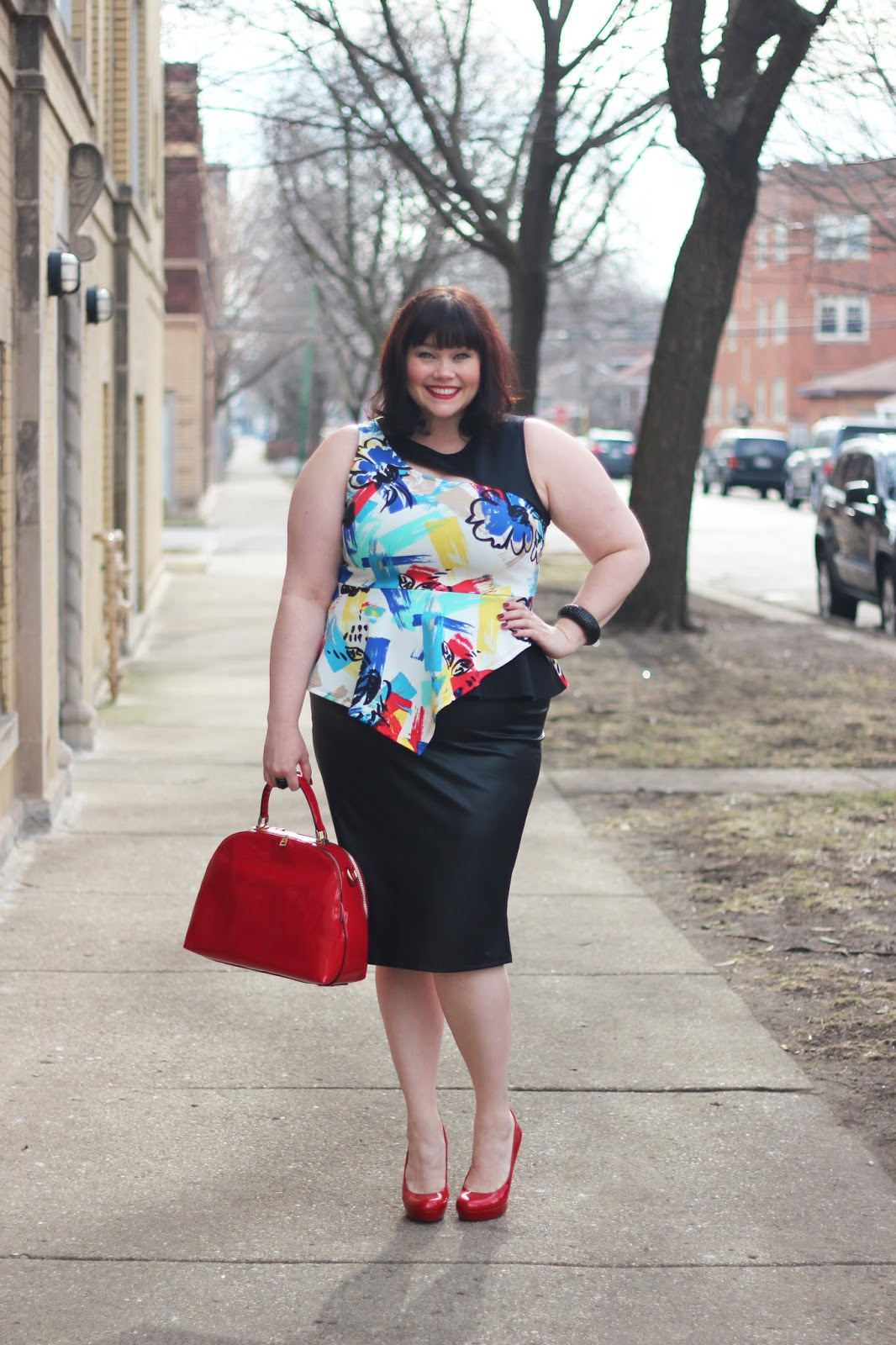 Plus Size Peplum Top and Leather Pencil Skirt from Fashion to Figure modeled by Plus Size Fashion Blogger Amber from Style Plus Curves