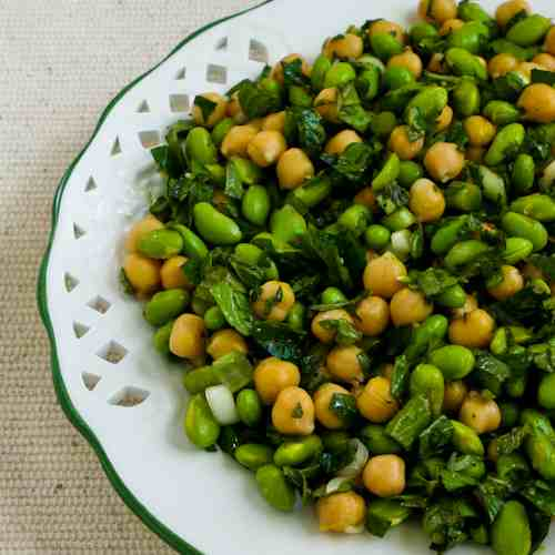 Chickpea (Garbanzo Bean) and Edamame Salad with Lemon and Mint from KalynsKitchen.com