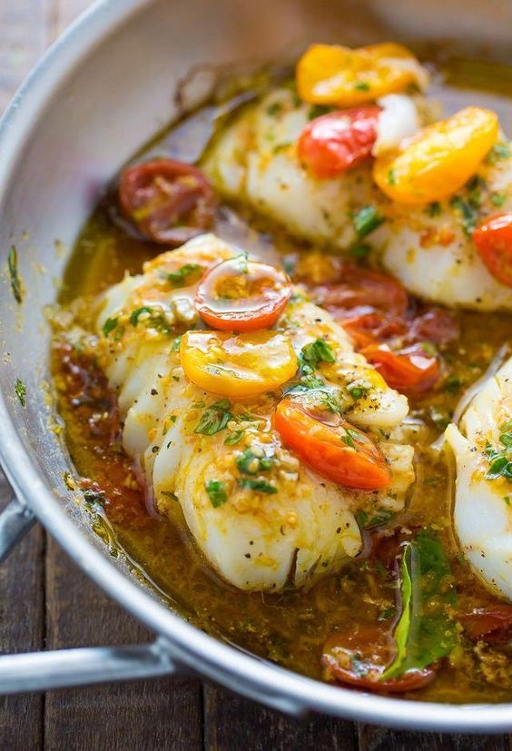 Pan-Seared Cod In White Wine Tomato Basil Sauce
