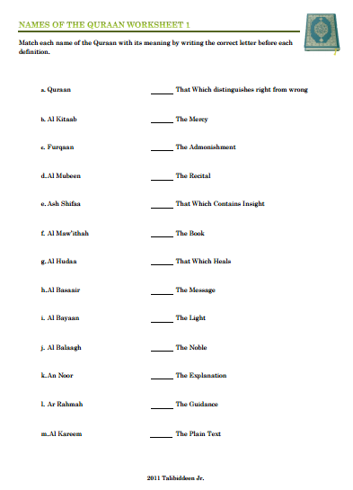 Names of Quraan Worksheets