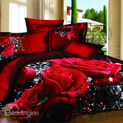 Luxury Red Rose 3D Printed 4-Piece Cotton Duvet Cover Sets  - Price : USD $ 67.69 (70% off)