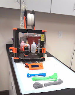 3D printers are being used at this veterinary specialist clinic to treat pet injuries. A model of the pet's injured bone is made using the 3D printer to better assist the Veterinarian in treating the injured limb in dogs, cats, or other pets