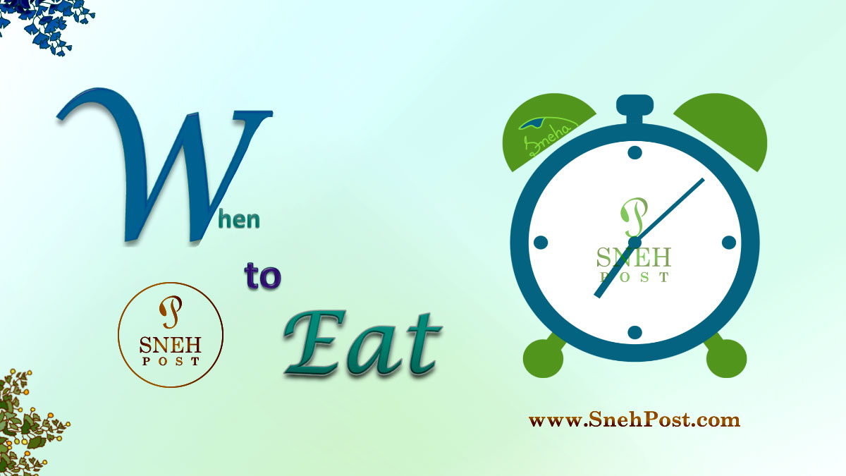Healthy eating habit: When to eat (Illustration of clock showing time to alarm about the right time of eating)