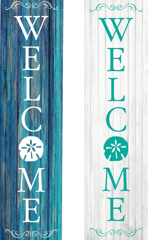 Wooden Beach Welcome Signs