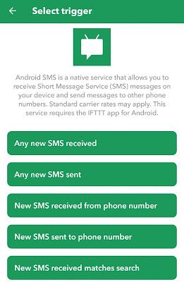 Select Android SMS trigger