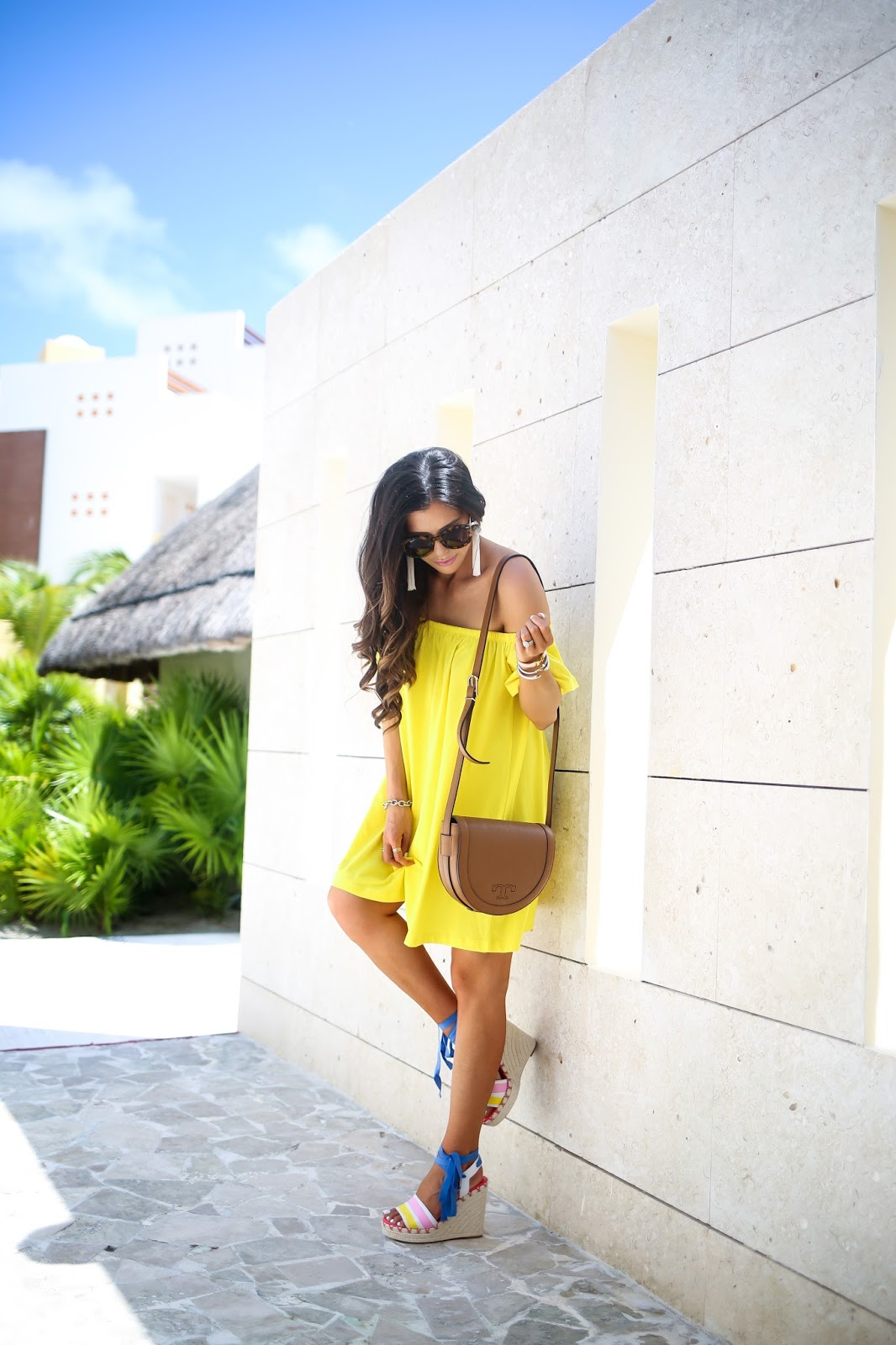 The sweetest Thing blog, emily gemma, ASOS off the shoulder dress, tory burch serif saddle bag, karen walker super duper tortoise, vanessa mooney white tassel earrings, kate spade danah wedges, brunette balayage medium layers, excellence playa mujeres cancun,yellow off the should dress, pinterest vacation beach outfit ideas, summer fashion pinterest, david yurman bracelet stack, white hermes bracelets