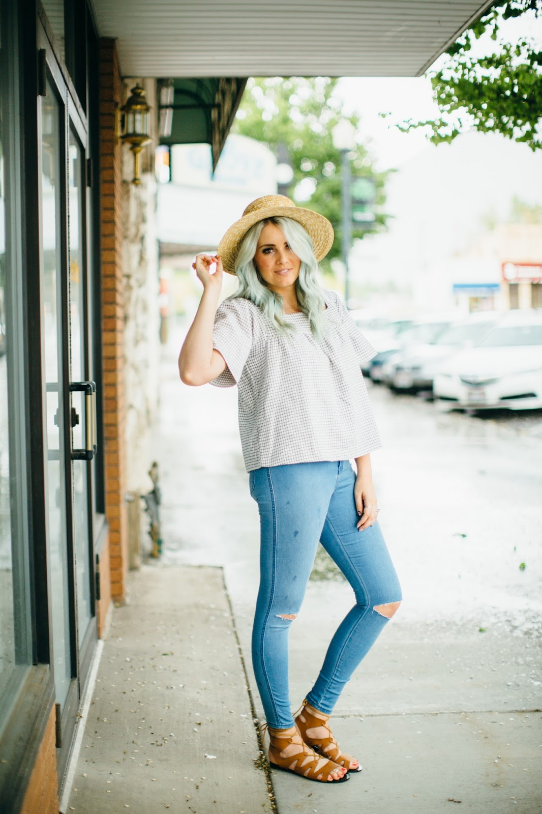 Spring Outfit, Lace Up Sandals, Mint Hair