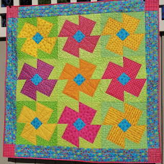 POSIE QUILT-FLOWER QUILT-QUILT FOR SALE-BABY QUILT-YELLOW-PINK