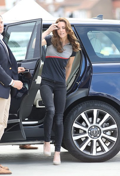 Prince William and Catherine Duchess of Cambridge visit Land Rover BAR. Kate Middleton wore MINT VELVET Mink Grace Suede Wedge