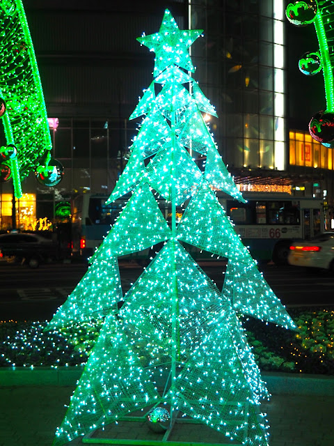 White Christmas tree in the lights grotto in Nampo, Busan, South Korea