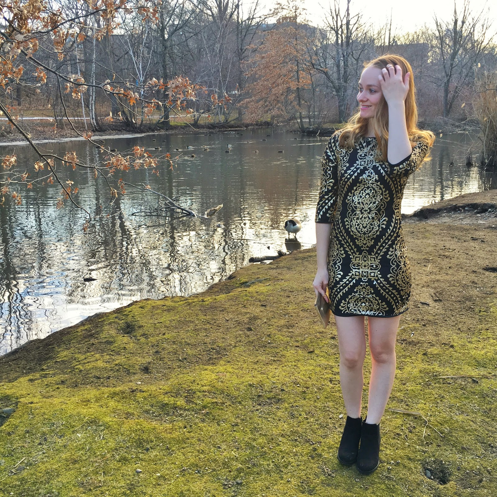 She Inside black and gold dress review