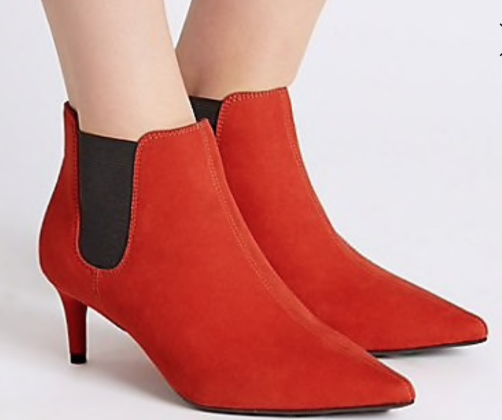 marks and spencer kitten heel pointed toe ankle boots