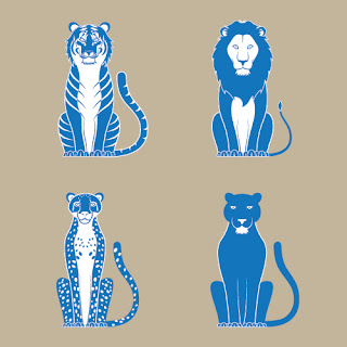 Tiger, lion, cheetah, and leopard, via Adobe Stock