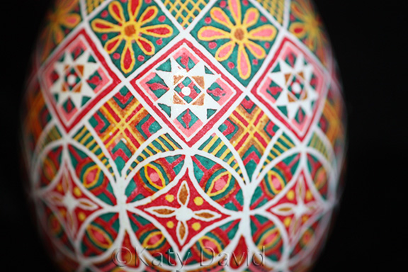 "©Katy David, ""Carousel"" 2016, Chicken egg pysanky"