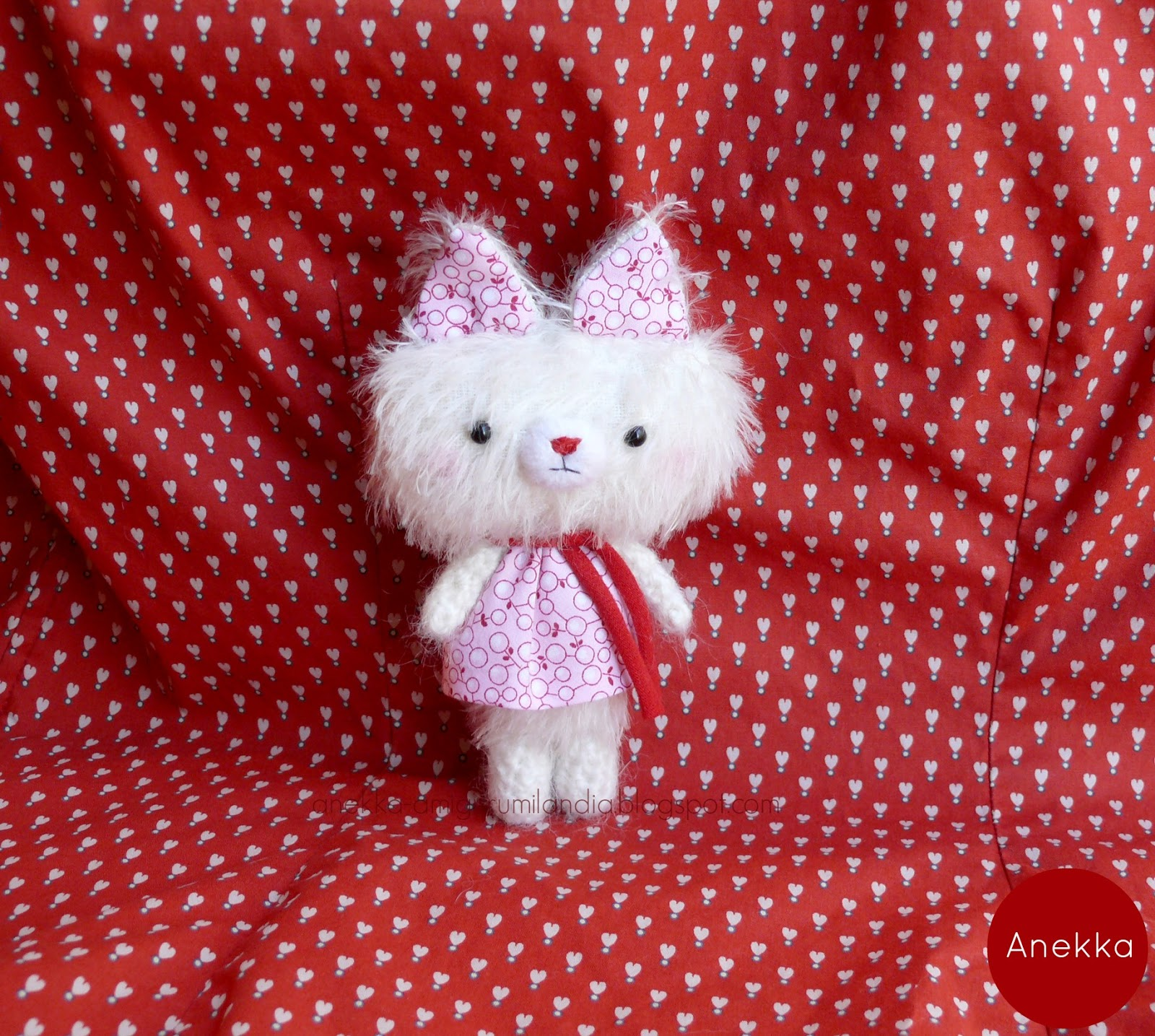 mohair teddy bear pink dress