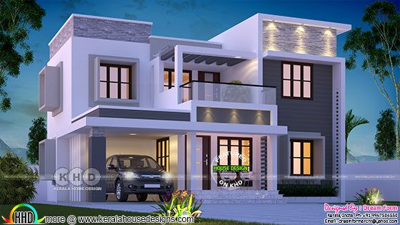 1905 square feet box model contemporary Kerala home design