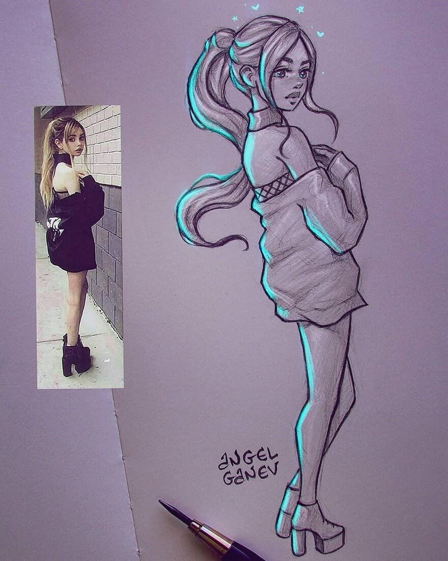 05-Cyan-Kisses-Angel-Ganev-Luminous-Pencil-Portraits-that-Glow-www-designstack-co